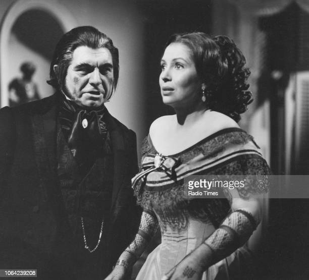 Actor Geraint Evans and an unnamed actress in a scene from the 'Music on 2' television series 'Tales of Hoffmann' March 8th 1970