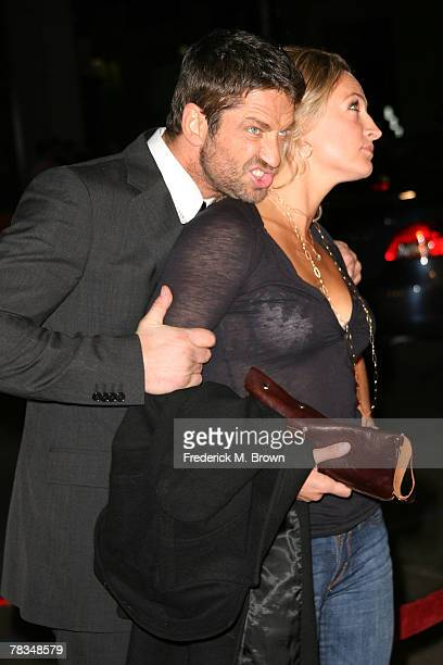Actor Gerard Bulter and actress Zoe Bell attend the Warner Bros' film premiere of 'PS I Love You' at Grauman's Chinese Theatre on December 9 2007 in...