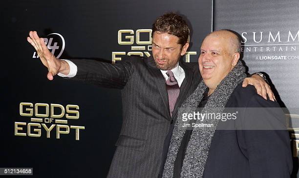 Actor Gerard Butler and director Alex Proyas attend the 'Gods Of Egypt' New York premiere at AMC Loews Lincoln Square 13 on February 24 2016 in New...