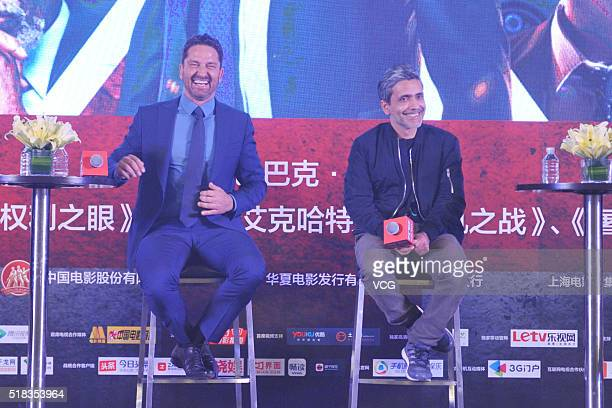 Actor Gerard Butler and director and scriptwriter Babak Najafi attend a press conference of new movie London Has Fallen on March 31 2016 in Beijing...