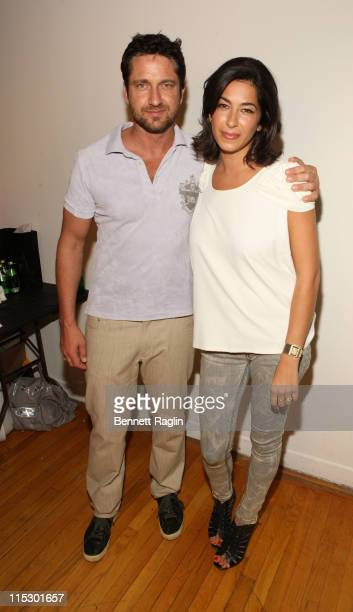 Actor Gerard Butler and Rebecca Minkoff pose for a picture backstage at Rebecca Minkoff during Style360 Fashion Week at the Metropolitan Pavilion on...