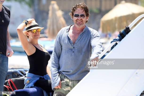 Actor Gerard Butler and tv presenter Barbara D'Urso attends 2017 Ischia Global Film Music Fest on July 12 2017 in Ischia Italy