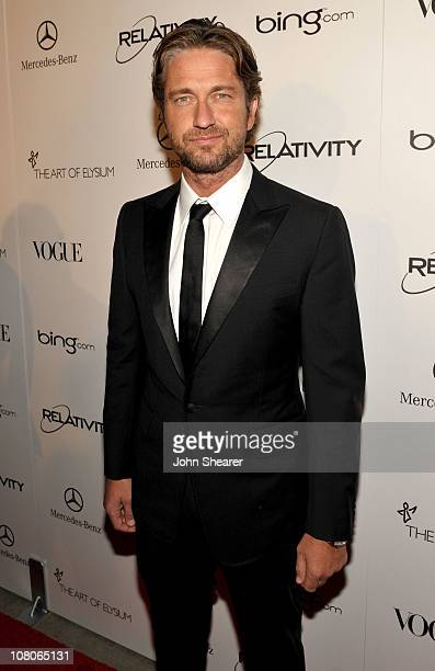 Actor Gerard Butler arrives at the 2011 Art Of Elysium Heaven Gala held at the California Science Center on January 15 2011 in Los Angeles California