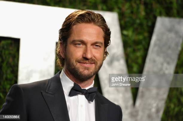 Actor Gerard Butler arrives at the 2012 Vanity Fair Oscar Party hosted by Graydon Carter at Sunset Tower on February 26 2012 in West Hollywood...