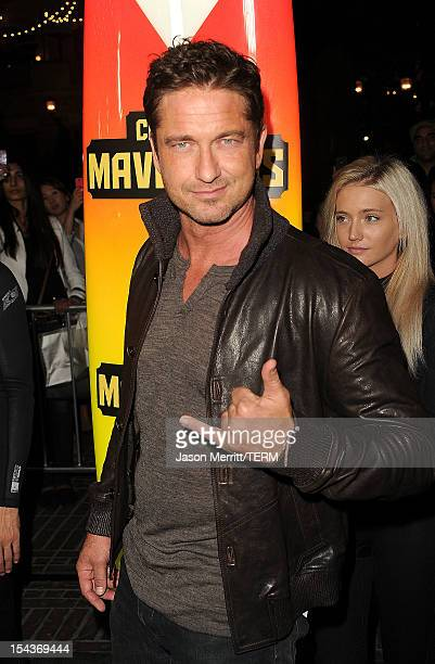 Actor Gerard Butler arrives at the premiere of 20th Century Fox's 'Chasing Mavericks' on October 18 2012 in Los Angeles California