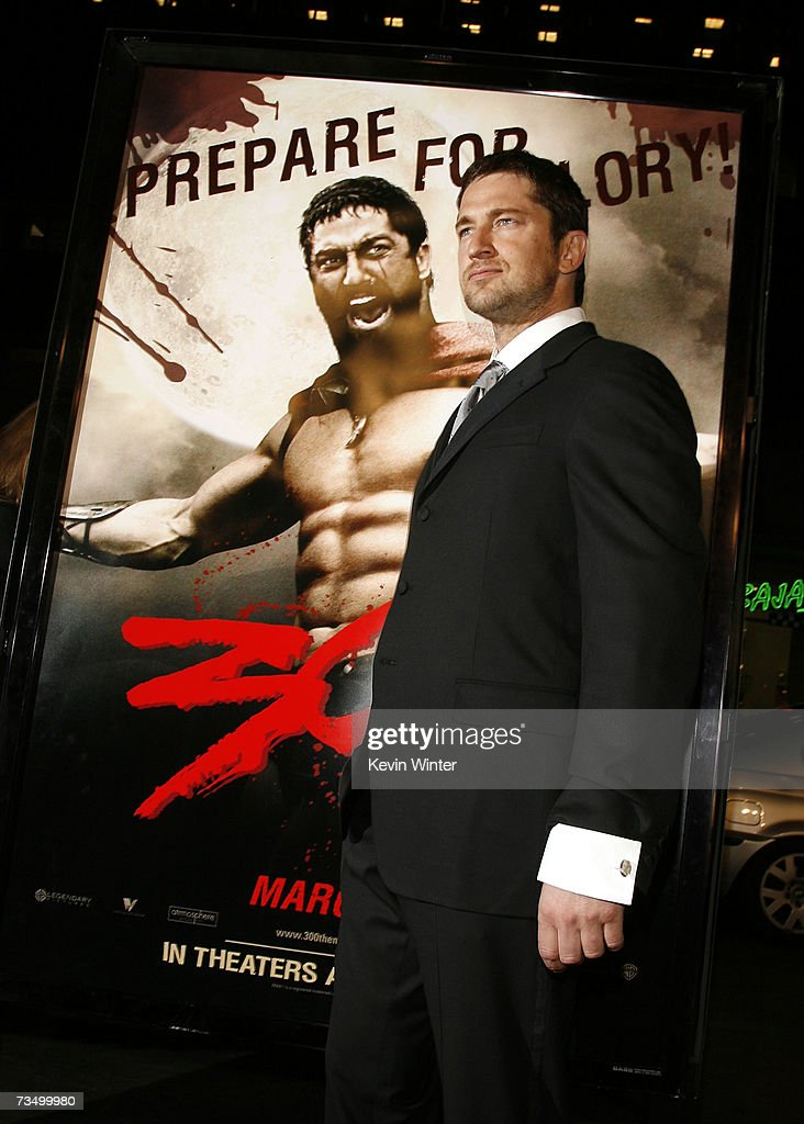 Actor Gerard Butler arrives at the premiere of Warner Bros. Picture's '300' at the Chinese Theater on March 5, 2007 in Los Angeles, California.