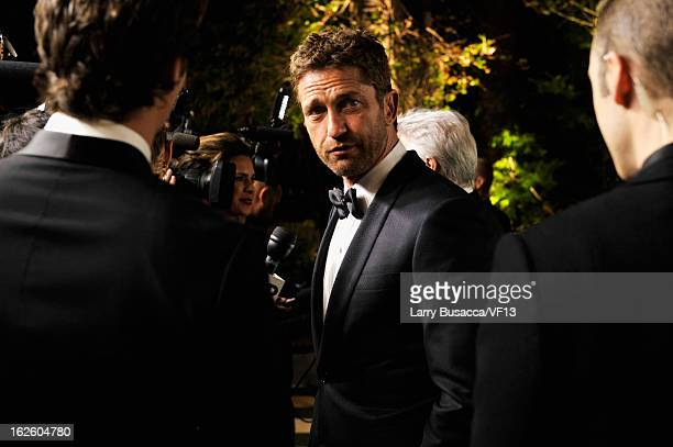Actor Gerard Butler arrives for the 2013 Vanity Fair Oscar Party hosted by Graydon Carter at Sunset Tower on February 24 2013 in West Hollywood...