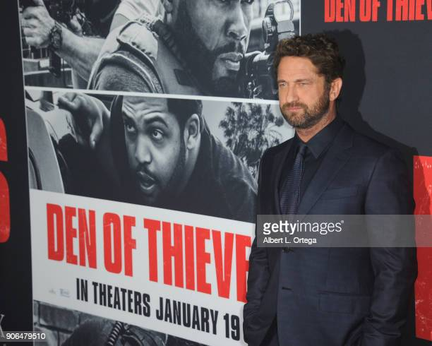 Actor Gerard Butler arrives for the Premiere Of STX Films' 'Den Of Thieves' held at Regal LA Live Stadium 14 on January 17 2018 in Los Angeles...