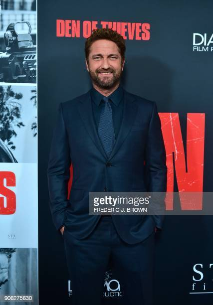 Actor Gerard Butler arrives for the premiere of the film Den of Thieves in Los Angeles California on January 17 2018 / AFP PHOTO / FREDERIC J BROWN