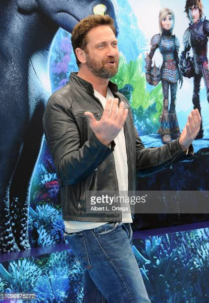 """Actor Gerard Butler arrives for Universal Pictures And DreamWorks Animation Premiere Of """"How To Train Your Dragon: The Hidden World"""" held at Regency..."""