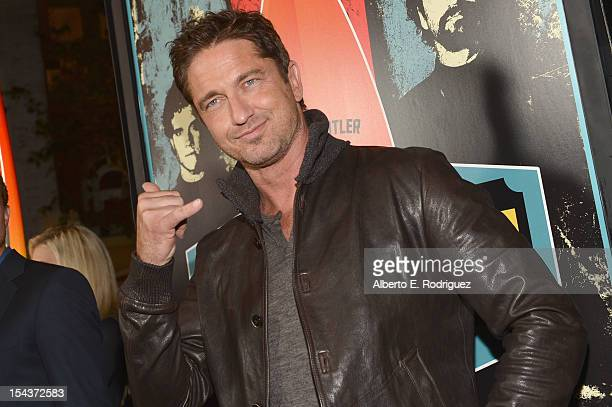 Actor Gerard Butler arrives to the premiere of 20th Century Fox's Chasing Mavericks on October 18 2012 in Los Angeles California