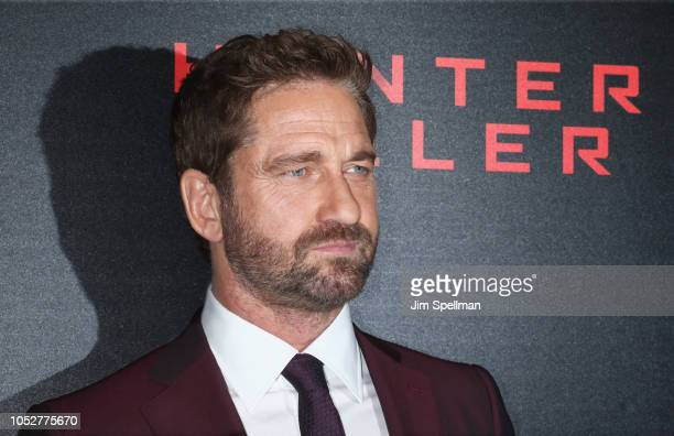 Actor Gerard Butler attend the world premiere of 'Hunter Killer' hosted by Lionsgate at Intrepid SeaAirSpace Museum on October 22 2018 in New York...