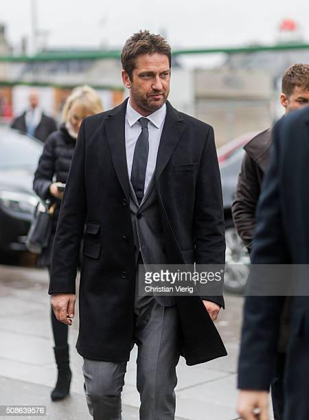Actor Gerard Butler attending a Hugo Boss Bottled event during the Copenhagen Fashion Week Autumn/Winter 2016 on February 5 2016 in Copenhagen Denmark