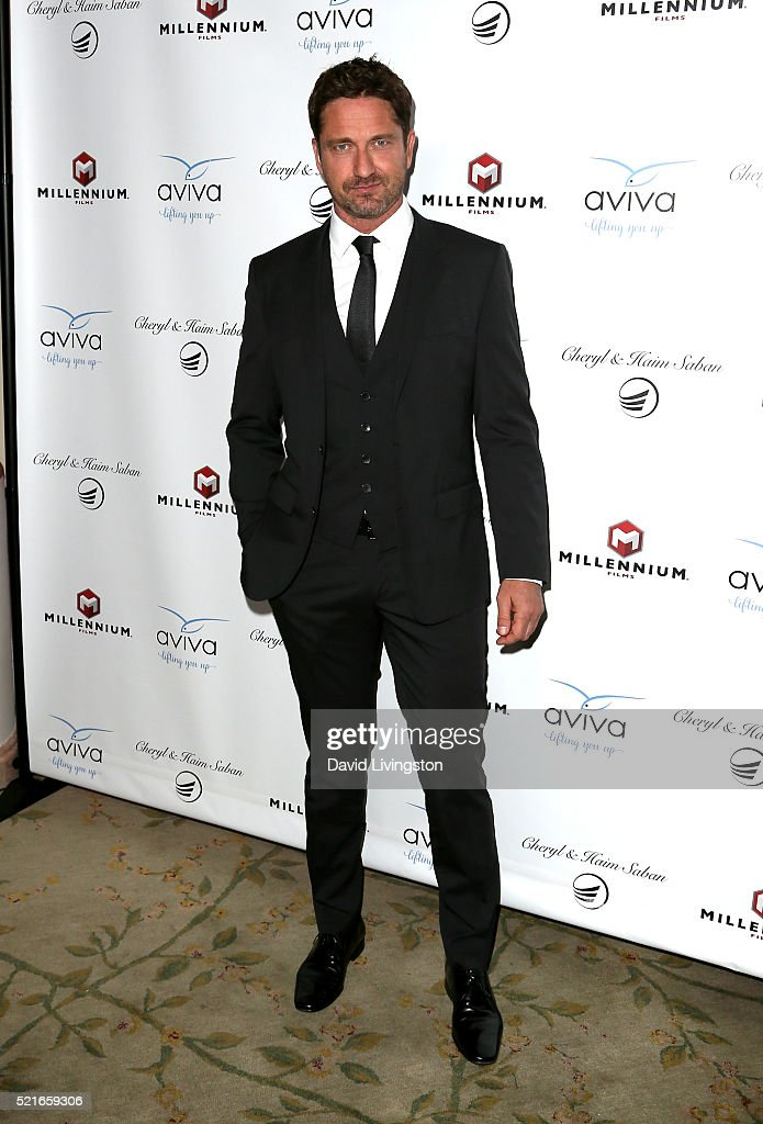 Actor Gerard Butler attends A Gala to honor Avi Lerner and Millennium Films at The Beverly Hills Hotel on April 16, 2016 in Beverly Hills, California.