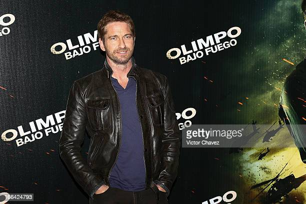 Actor Gerard Butler attends a photocall to promote his new film 'Olympus Has Fallen' at St Regis Hotel on April 12 2013 in Mexico City Mexico