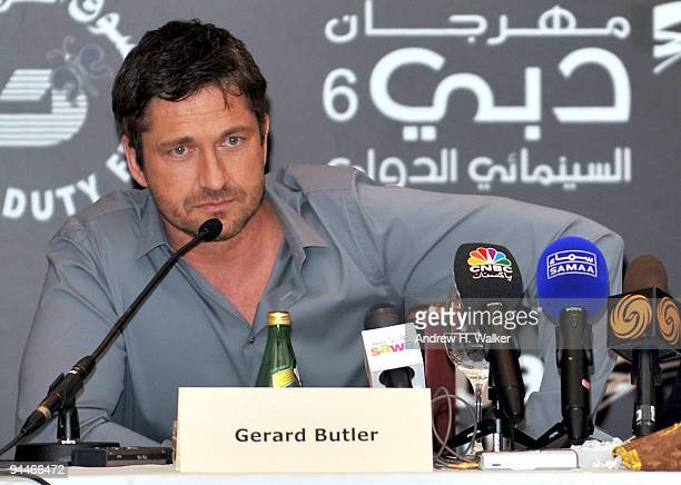 Actor Gerard Butler attends a press conference during day seven of the 6th Annual Dubai International Film Festival held at the Madinat Jumeriah...