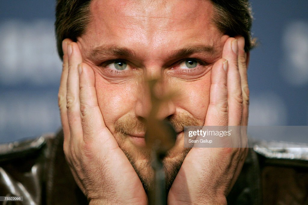 Actor Gerard Butler attends a press conference to promote the movie '300' during the 57th Berlin International Film Festival (Berlinale) on February 14, 2007 in Berlin, Germany.
