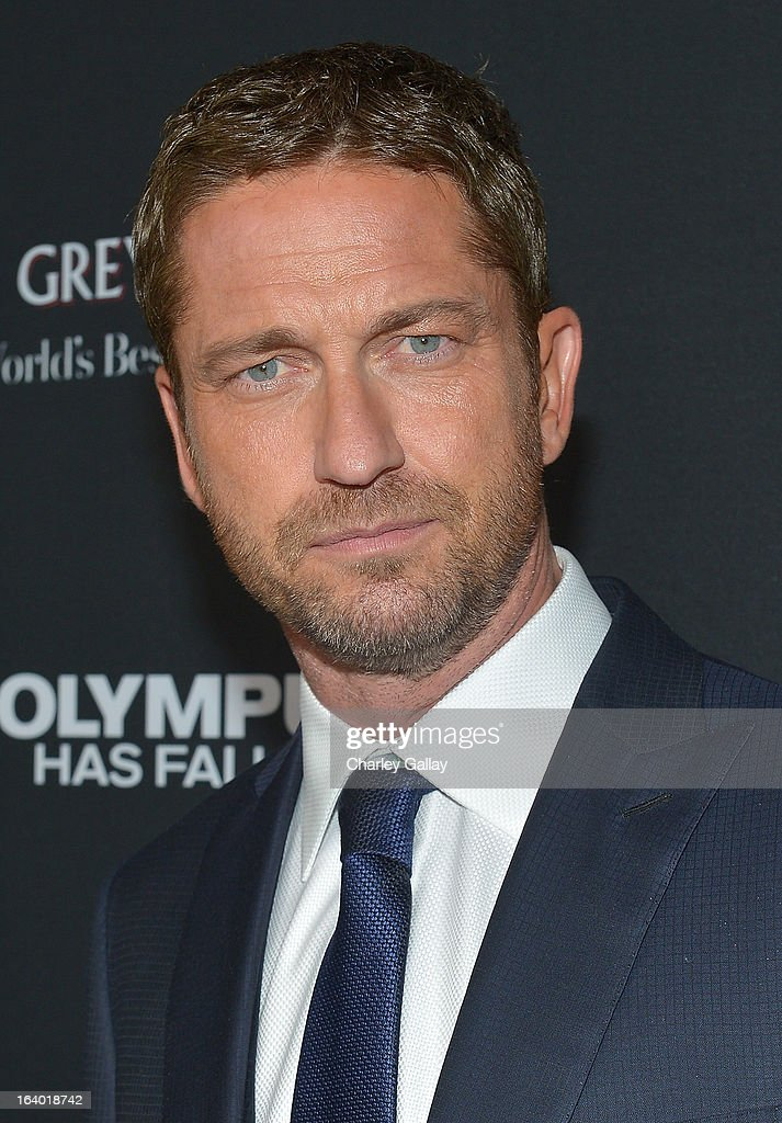 Actor Gerard Butler attends Brioni Sponsors Film District's World Premiere Of 'Olympus Has Fallen' ArcLight Cinemas on March 18, 2013 in Hollywood, California.