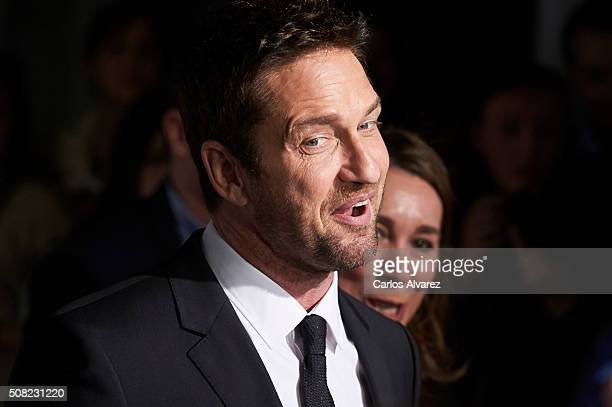 Actor Gerard Butler attends Hugo Boss 'Man Of Today' presentation at the NH Eurobuilding Hotel on February 3 2016 in Madrid Spain