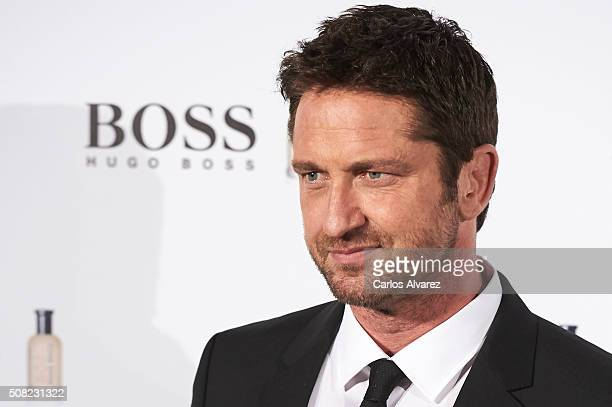 """Actor Gerard Butler attends Hugo Boss """"Man Of Today"""" presentation at the NH Eurobuilding Hotel on February 3, 2016 in Madrid, Spain."""