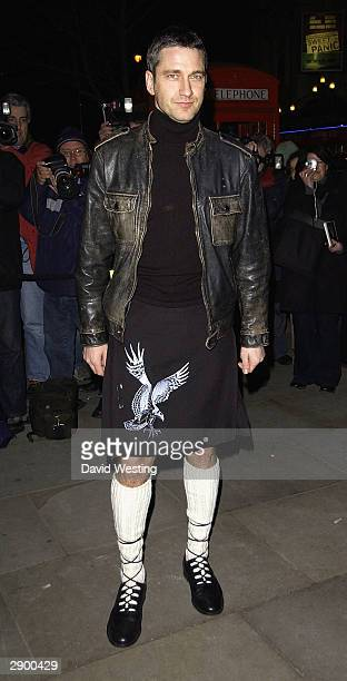 Actor Gerard Butler attends the 'Burns Night Charity Supper' on January 25 2004 at the St Martin's Lane Hotel in London The event is in aid of...