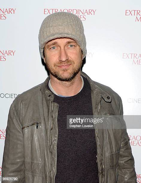 Actor Gerard Butler attends the Cinema Society John And Aileen Crowley screening of Extraordinary Measures at the School of Visual Arts Theater on...