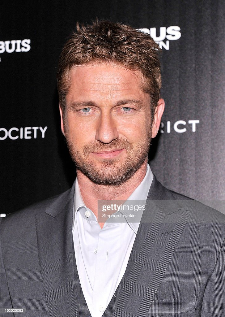Actor Gerard Butler attends The Cinema Society with Roger Dubuis and Grey Goose screening of FilmDistrict's 'Olympus Has Fallen' at Tribeca Grand Hotel on March 11, 2013 in New York City.