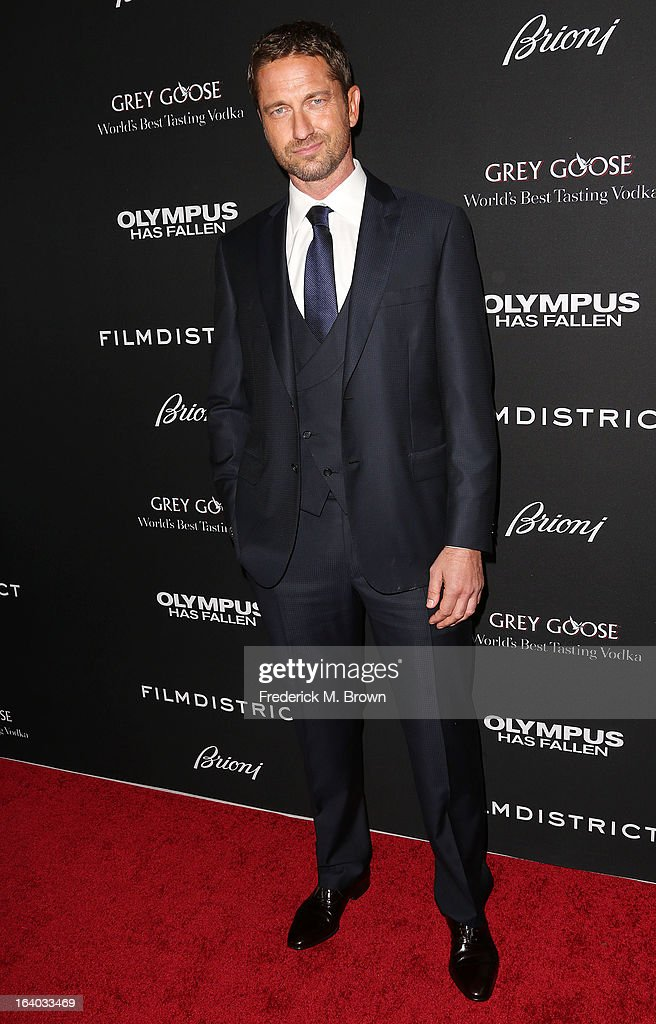 Actor Gerard Butler attends the Premiere of FilmDistrict's 'Olympus Has Fallen' at the ArcLight Cinemas Cinerama Dome on March 18, 2013 in Hollywood, California.
