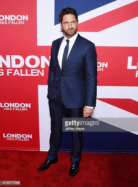 Actor Gerard Butler attends the premiere of Focus Features' 'London Has Fallen' held at ArcLight Cinemas Cinerama Dome on March 1 2016 in Hollywood...