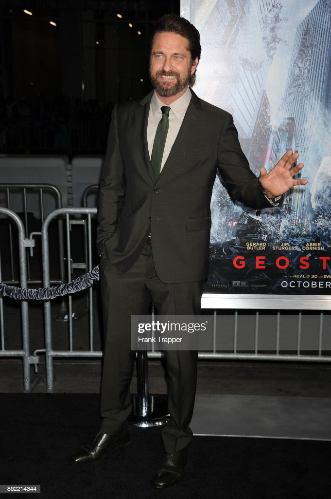 Actor Gerard Butler attends the premiere of Warner Bros. Pictures' 'Geostorm' on October 16, 2017 at the TCL Chinese Theater in Hollywood, California.