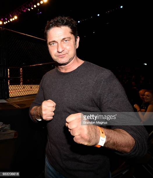 Actor Gerard Butler attends the UFC Fight Night event inside The O2 Arena on March 17 2018 in London England