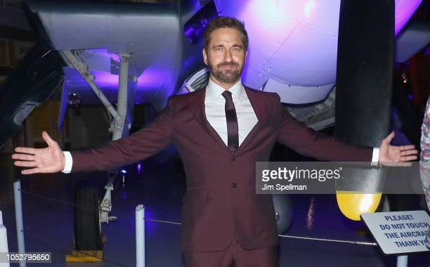 Actor Gerard Butler attends the world premiere after party for Hunter Killer hosted by Lionsgate at Intrepid SeaAirSpace Museum on October 22 2018 in...