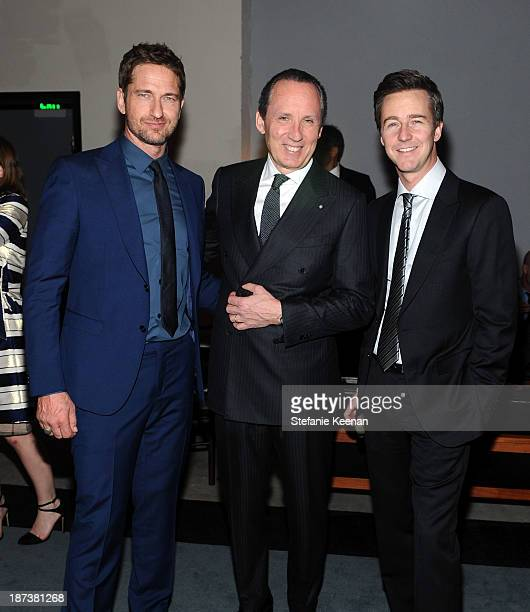 Actor Gerard Butler Ermenegildo Zegna CEO Gildo Zegna and actor Edward Norton attend the Ermenegildo Zegna Eminences Grises unveiling hosted by Gildo...