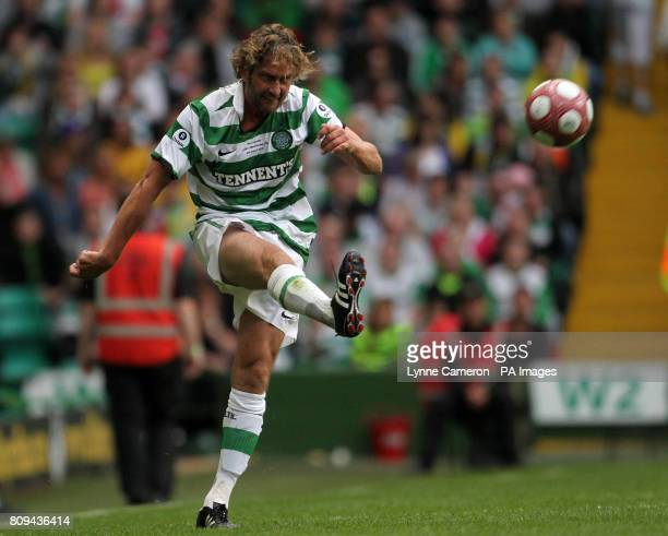 Actor Gerard Butler in action during a Legends match at Celtic Park, Glasgow.
