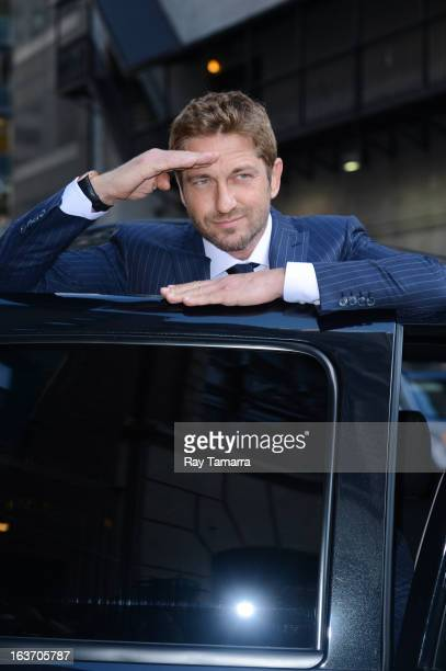Actor Gerard Butler leaves the 'Late Show With David Letterman' taping at the Ed Sullivan Theater on March 14 2013 in New York City