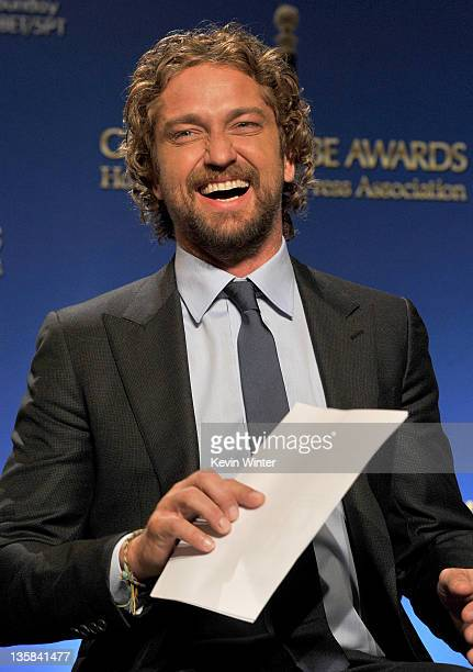 Actor Gerard Butler onstage during the 69th annual Golden Globe Award Nominations announcements at The Beverly Hilton hotel on December 15 2011 in...