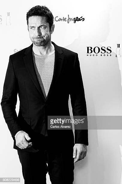 Actor Gerard Butler signs Hugo Boss bottled fragrances at El Corte Ingles Store on February 3 2016 in Madrid Spain