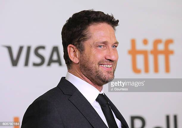 Actor Gerard Butler speaks to the media at the 2016 Toronto International Film Festival Premiere of 'The Headhunter's Calling' at Roy Thomson Hall on...