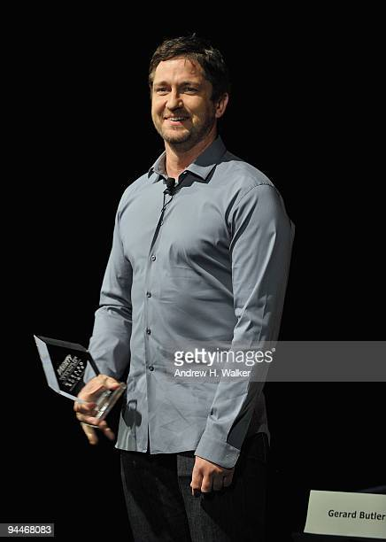 Actor Gerard Butler with his Variety International Star of the Year Award at a Variety In Conversation With Presenation during day seven of the 6th...