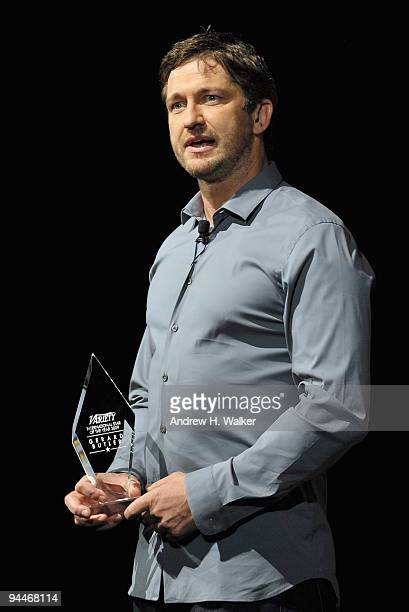 Actor Gerard Butler with his Variety International Star of the Year Award at a Variety In Conversation With Presentation during day seven of the 6th...