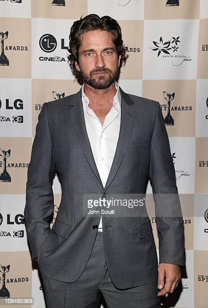 Actor Gerard Butler with LG at the 2011 Film Independent Spirit Awards Voter Party at Santa Monica Place on February 26 2011 in Santa Monica...