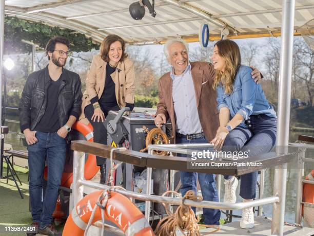 Actor Gerard Darmon with his children Jules Virginie and Sarah are photographed for Paris Match on February 27 2019 in Paris France