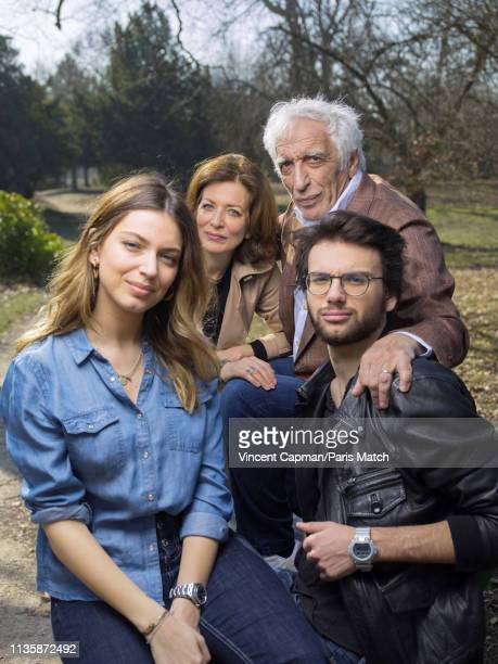 Actor Gerard Darmon with his children Sarah Virginie and Jules are photographed for Paris Match on February 27 2019 in Paris France