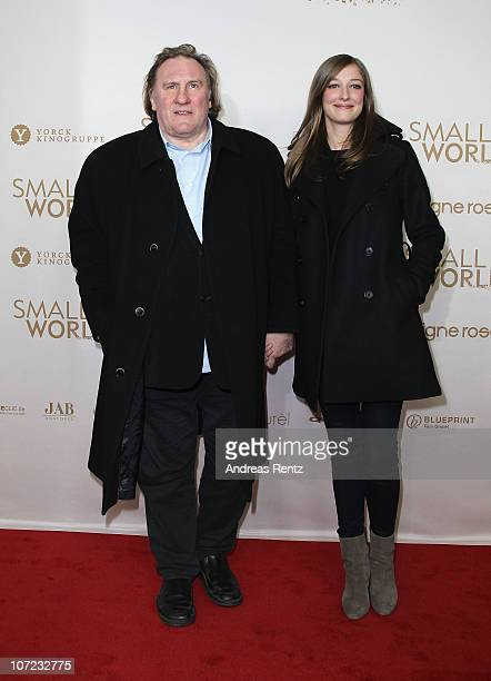 Actor Gerard Depardieu and actress Alexandra Maria Lara attend the 'Small World' premiere at Cinema Paris on December 1 2010 in Berlin Germany
