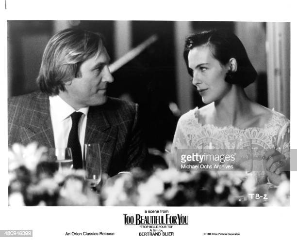 Actor Gerard Depardieu and actress Carole Bouquet in a scene from the Orion Classic movie Too Beautiful for You circa 1989