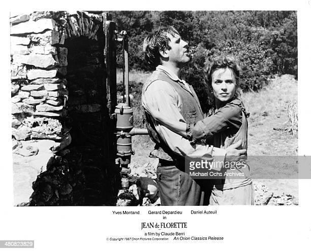 "Actor Gerard Depardieu and actress Elisabeth Depardieu in a scene from the movie ""Jean de Florette"", circa 1986."