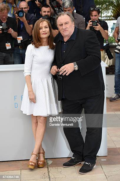 Actor Gerard Depardieu and actress Isabelle Huppert attend the Valley Of Love Photocall during the 68th annual Cannes Film Festival on May 22 2015 in...