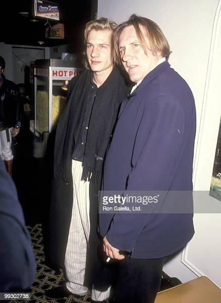 """Actor Gerard Depardieu and son actor Guillaume Depardieu attend the """"Tous les matins du monde"""" New York City Premiere on October 10, 1992 at The..."""