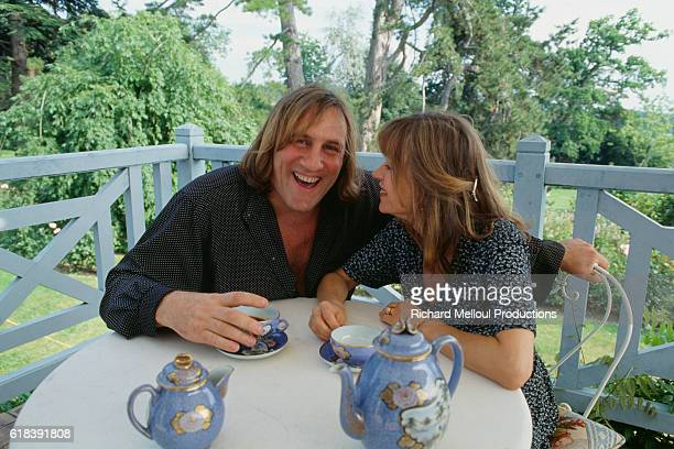 Actor Gerard Depardieu with His Wife Elizabeth at Home
