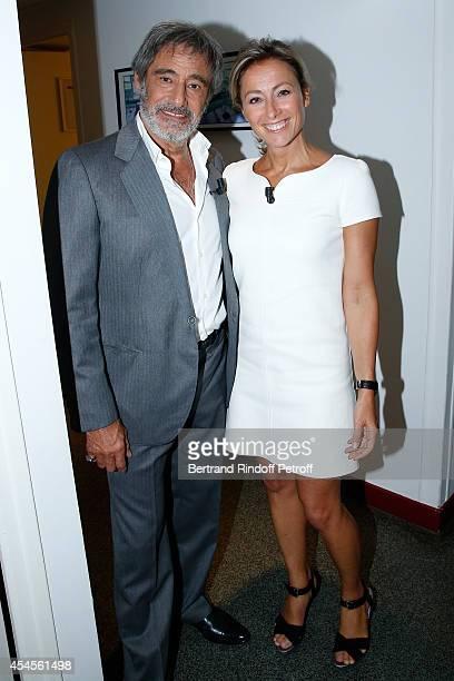 Actor Gerard Lanvin and journalist Anne SophieLapix present the movie 'Bon retablissement during the 'Vivement Dimanche' French TV Show at Pavillon...